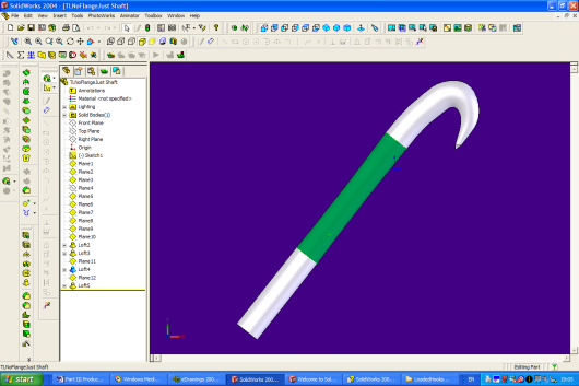 Fig 1 3-d reconstruction from Solidworks of a burdock hook and shaft